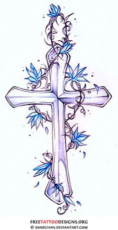 free cross with flowers | the cross with angel wings tattoo a skull rosary beads hearts a cross ... Flower Tattoo Designs, Blue Flower Tattoos, Cross Tattoo Designs, Cross Designs, Tatoo Art, Religious Tattoos, Tribal Cross Tattoos, Celtic Cross Tattoos, Cross Tattoos For Women