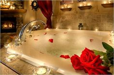 To get an impression of romance in thebathroomyou have to create an     atmosphere.  The right atmosphere will create a strong romantic impression. Here are  some pictures which could serve as inspiration to create a romantic bath  for you and your partner.
