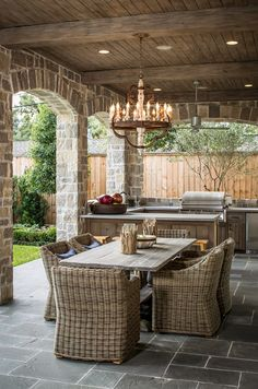 What a great entertaining idea for a covered patio!! Outdoor Kitchen, dining table, and a beautiful chandelier to complete the space! Talk about lakeside entertaining...