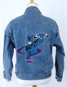 DC Comics Denim Jean Jacket Large Batman Forever Riddler Embroidered Warner Bros #DCComics #JeanJacket