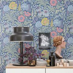 tienda online telas & papel | Papel flores Elisa azul oscuro