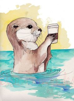 LARGE PRINT River Otter and His Latte Otter by JessicaMingoDesigns, $15.00