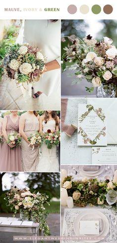 mauve,ivory and greenery wedding color ideas