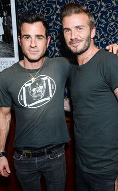 Justin Theroux & David Beckham from The Big Picture: Today's Hot Pics  The pair celebrate the athlete's short film Outlaws for Belstaff.