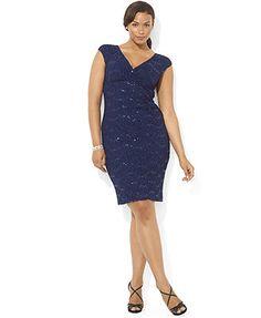 Lauren Ralph Lauren Plus Size Dress, Cap-Sleeve Empire-Waist Lace