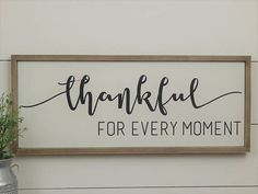 Thankful Sign, Wood Thankful Sign, Farmhouse Style Sign, Wood Framed Sign, Framed Wood Sign, Rustic Wood Sign, Wood Sign, Rustic Home Decor