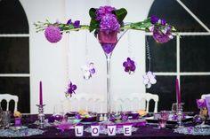 décoration de salle des fêtes mariage romantique parme mauve