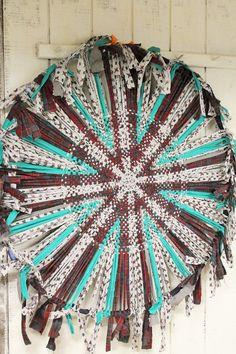 Folk Art Rag Rug Wagon Wheel Hand Woven By Ragrugroad