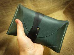 Tarot leather pouch, tarot case, holder, tarot bag, Rider Waite tarot, split leather, dark green
