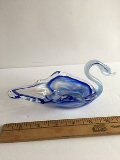 Sheer Blue Glaze Swan Jewelry Box or Candy Dish