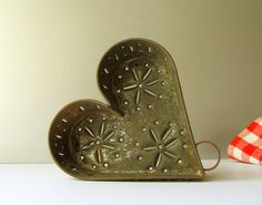 Antique Vintage Punched Tin Heart Cheese Mold or Strainer, a Large 5 1/2 high, and 5 3/4 wide, antique early Pennsylvania folk art primitive metal