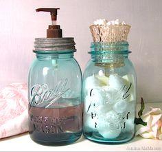 Mason jar soap dispenser/cotton ball and q-tip holder.