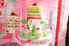 "love this cake for a strawberry shortcake party...pretty and not too ""theme-y"""
