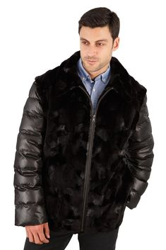 Urban streetwear with manly sophistication in this mink jacket with quilted sleeves and quilted side panels. Fur Jacket Mens, Mink Jacket, Mens Fur, Vest Jacket, Mens Winter Fashion Jackets, Winter Outfits Men, Outfit Winter, Winter Clothes, Steampunk Clothing