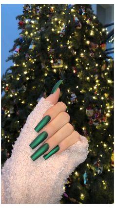 Chistmas Nails, Xmas Nails, Emerald Nails, Long Square Acrylic Nails, Kylie Jenner Nails, Bling Acrylic Nails, Glitter Nails, Nagellack Design, Nail Designer