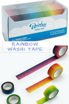 Rainbow Washi Tape - decorative adhesive tape, click for more! #supplies #essentials #stationery #ad