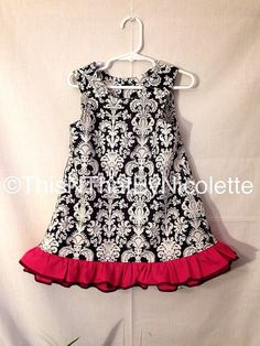 Trendy black and white damask dress with by ThisNThatByNicolette,