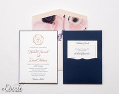Navy and blue wedding invitation with custom floral envelope liner.  Rose gold foil and navy letterpress printed.  Stunning.   www.eberleinvitations.com