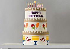 Handmade Charlotte Stacked Birthday Cake Boxes | Made using FolkArt Handmade Charlotte stencils and FolkArt paint
