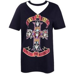 Boohoo Rosie Guns N Roses Cut Out Neck Band Tee   Boohoo (240.550 IDR) ❤ liked on Polyvore featuring tops, t-shirts, crop t shirt, cotton camisole, blue jersey, cotton tee and off shoulder crop top