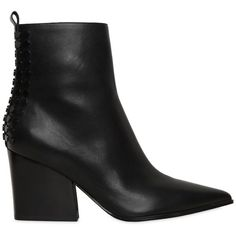 Kendall+kylie Women 70mm Felix Studded Leather Ankle Boots ($310) ❤ liked on Polyvore featuring shoes, boots, ankle booties, black, black bootie, pointed toe booties, black ankle boots, black bootie boots and studded ankle boots