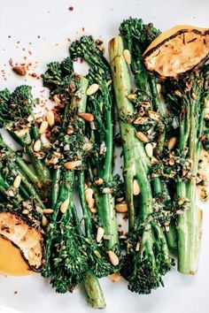 Broccolini with Grilled Lemon, Pine Nuts and Aleppo Chile The entire vegetable is edible, but my favorite part is the stalk. To me, the flavor is less bitter than broccoli and with a sweetness that is closer to asparagus without the astringency. Side Dish Recipes, Veggie Recipes, Whole Food Recipes, Vegetarian Recipes, Cooking Recipes, Healthy Recipes, Pine Nut Recipes, Green Vegetable Recipes, Vegetable Ideas