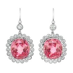 Pair of platinum, pink topaz and diamond earrings. I think these are so happy-looking.