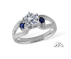 AK-Diamond and Sapphire Engagement Ring