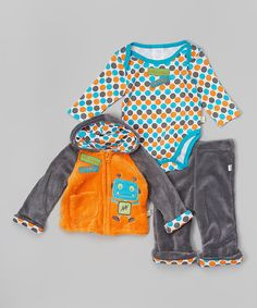 Look at this Orange & Gray Monster Zip-Up Hoodie Set on #zulily today!