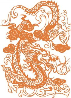 Traditional Chinese paper-cut of a dragon.