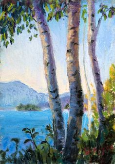 Birches by the Lake by Takeyce Walter 7x5"