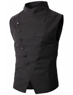 YesFashion Men's Small Vest Waistcoat Black M - Outerwear - Men