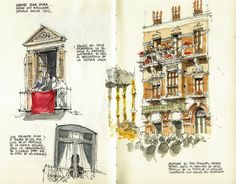 Málaga, Easter 2012 (1) by Luis_Ruiz, via Flickr Drawing Journal, Artist Journal, Art Sketchbook, Drawing Sketches, Drawings, Drawing Ideas, Moleskine, Art Et Architecture, Historic Architecture