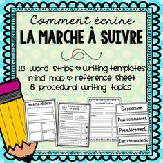 Includes a variety of templates, organizers, and writing prompts! Writing Topics, Writing Resources, Teaching Writing, Writing Activities, Teaching Tools, French Resources, Writing Prompts, Procedural Writing, Paragraph Writing