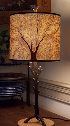 Made To Order Tree of Life Painted & Pierced 10x10x9 Lamp Shade With Twig Lamp Other Color Choices via Etsy