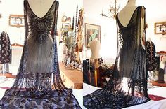 Amazing Vintage 1920's Deco Glass Crystal Jet Beading Flapper Dress Gown | eBay