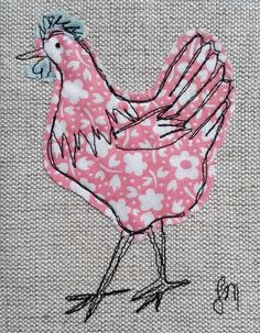 Pink chicken - framed freestyle machine embroidery
