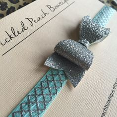 Silver Glitter Bow w Mint and Silver by pickledpeachbowtique