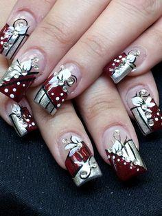 Day 260 red bling nail art nails magazine blinged out design Bling Nail Art, Floral Nail Art, Glitter Nail Art, Bling Nails, Art Nails, Burgundy Nail Art, Pretty Nail Art, Best Acrylic Nails, Christmas Nail Art