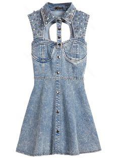 Blue Sleeveless Sequined Hollow Backless Denim Dress for HPL