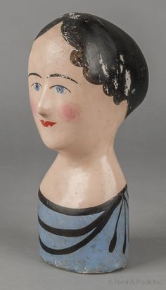 milliner's head, 19th c. paper mache