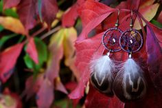 Small Aubergine and Brown Dream Catcher by nZuriArtDesigns on Etsy