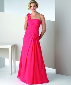 Chiffon A-line One Shoulder Alternating Vertical Pleated Bodice Formal Long Dress