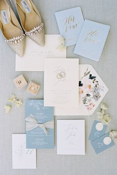 Dusty blue and pastel wedding invitation suite. Photo: @jenhuangbogan Pastel Wedding Invitations, Pink Invitations, Wedding Invitation Suite, Wedding Stationery, Mod Wedding, Farm Wedding, Wedding Table, Pastel Wedding Colors, Dusty Blue Weddings