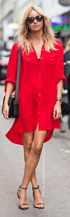 Red Flirty Comfy High And Low Chiffon Shirt Dress