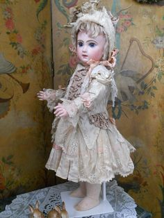~~~ French BeBe Silk Costume with Pretty Bonnet ~~~  ✨BullDoll InSpIrAtIoN✨