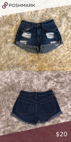 High rise dark wash shorts Dark wash high rise shorts bought from Pacsun Bullhead Shorts Jean Shorts High Rise Shorts, Pacsun, Jean Shorts, Dark, Best Deals, Closet, Stuff To Buy, Things To Sell, Style