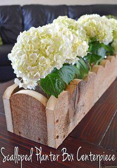 DIY scalloped rustic planter box centerpiece