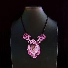 Soutache pendant in deep pink & black shades, with purple jasper, rose quartz, crystals, black onyx. Soutache,pendant,statement, pink, black by Menir on Etsy
