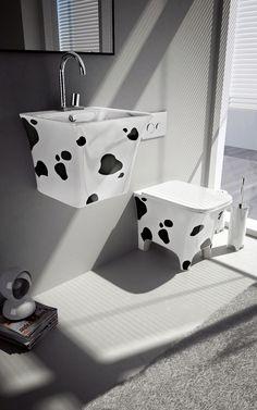 Unique Bathroom Furniture by Birex – Campus Fun Bathroom Fixtures by Artceram - Cow Bathroom Wall Decor, Bathroom Layout, Bathroom Fixtures, Bathroom Furniture, Small Bathroom, Modern Bathroom, Quirky Bathroom, Weird Furniture, Antique Furniture